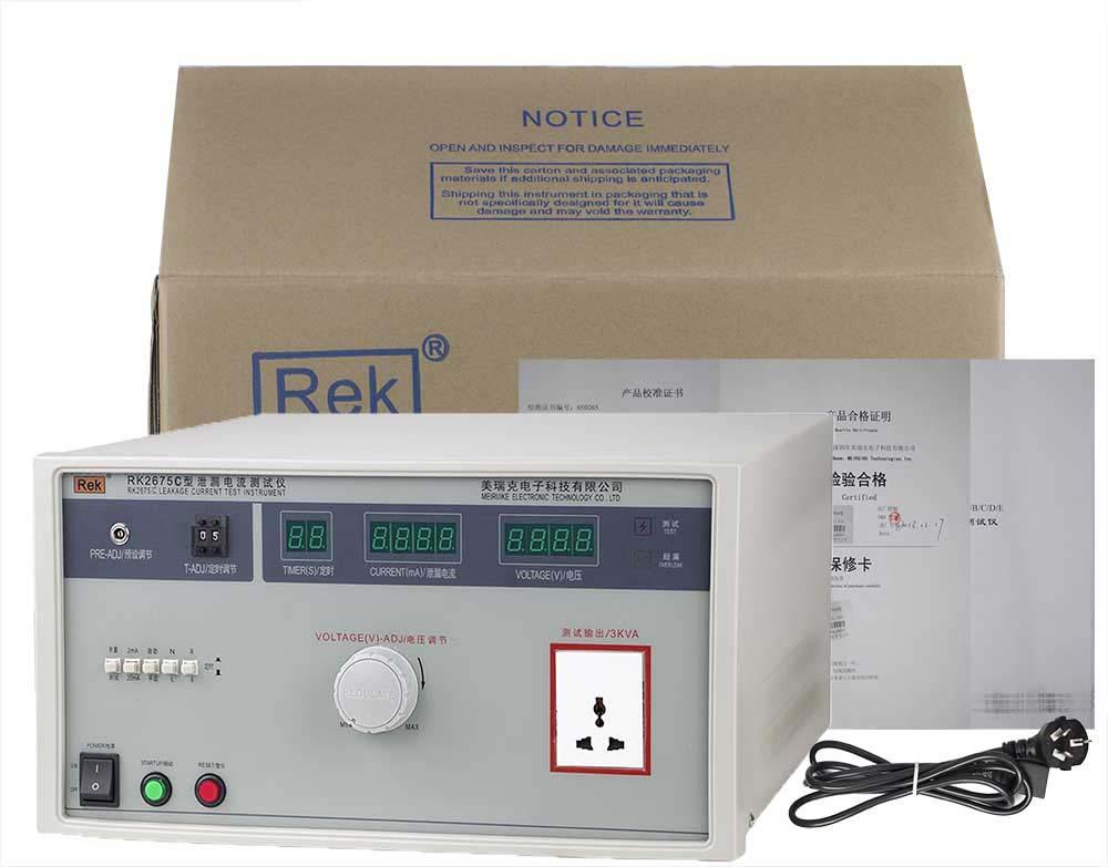 bộ sản phẩm máy đo dòng rò dây dẫn RK2675C
